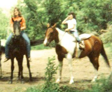 Spider and Peppy, My Sister And I Riding Horses When We Were Kids