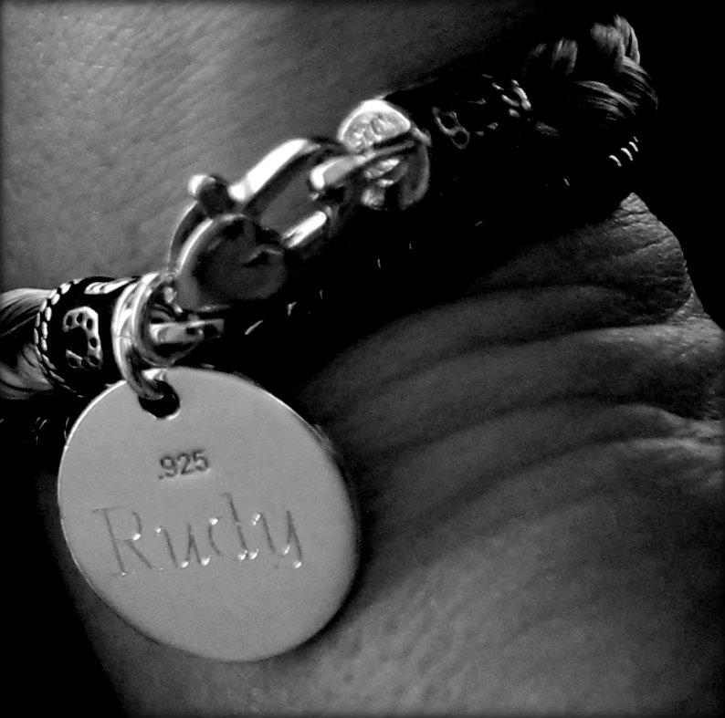 Engraved Charm on Horse Hair Bracelet