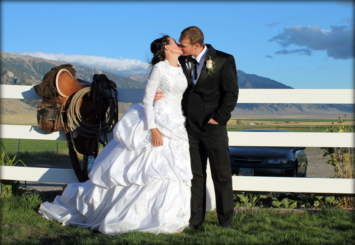 Bride and Groom with Saddle